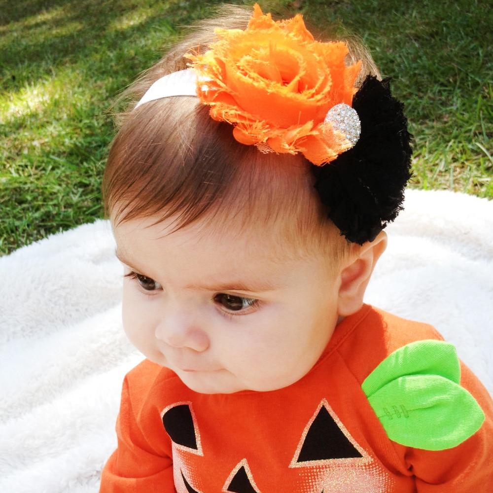 2016 Halloween Baby Rhinestone Flower Headband Girl Children Kids Hair Accessories Cute Infant Toddler Elastic Headwear