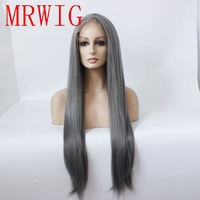 MRWIG natural looking straight dark grey glueless front lace wig long hair 26in synthetic cosplay middle part for fashion lady