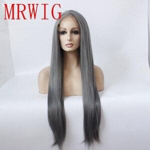 Peluca de encaje frontal sin pegamento de aspecto natural recto oscuro gris de MRWIG, peluca de pelo largo 26in, pieza media de cosplay sintético para mujer a la moda