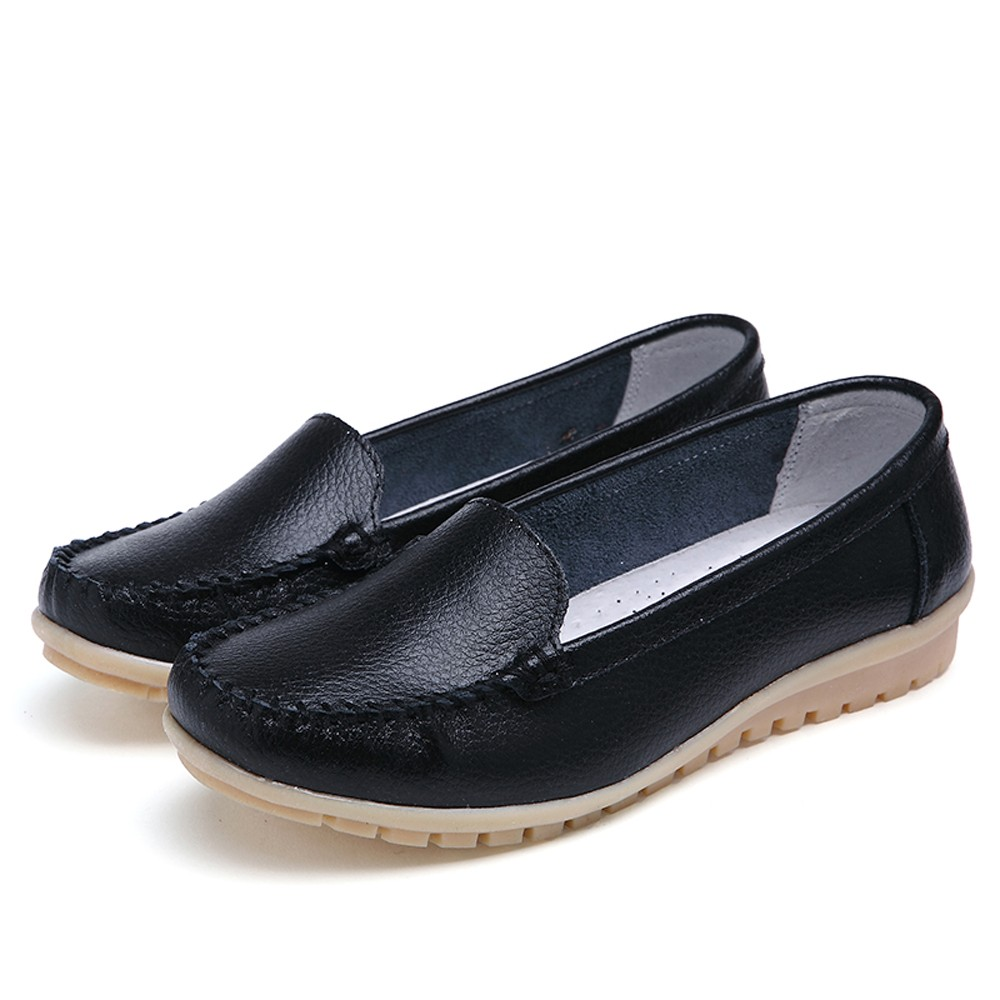 New Casual Outdoor Toe Flat High Quality Women Flats Shoes Genuine Leather Shoes Loafers Slip On Shoe Four Seasons Shoes 2019
