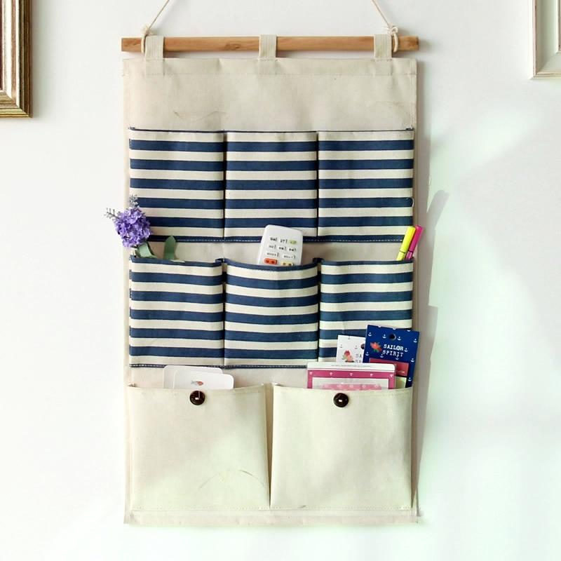 Good New Simple Household Hanging Storage Bag Bedroom Office Door Wall Closet  Organizers Sundries 8 Pockets(