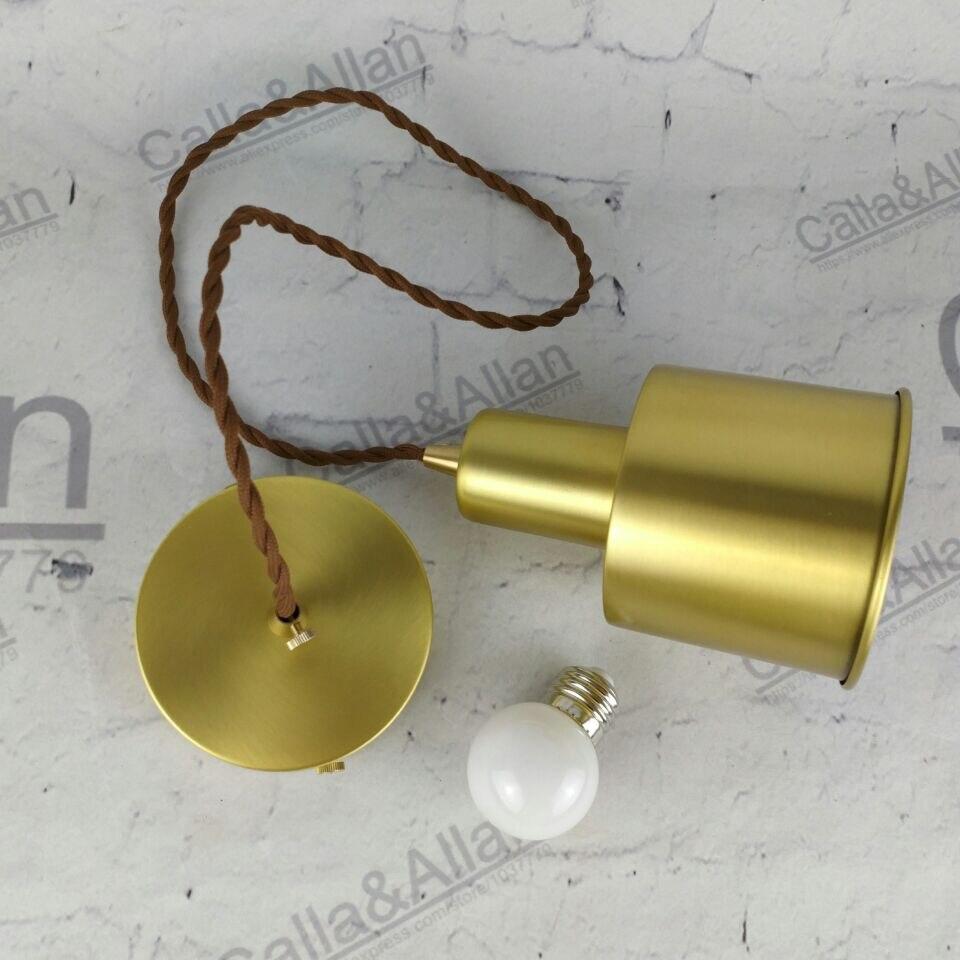 100% lampe à suspension en laiton matériau cuivre D100x140mm avec 2 mètres de tissu torsadé réglable chambre à coucher en laiton à côté de la lumière