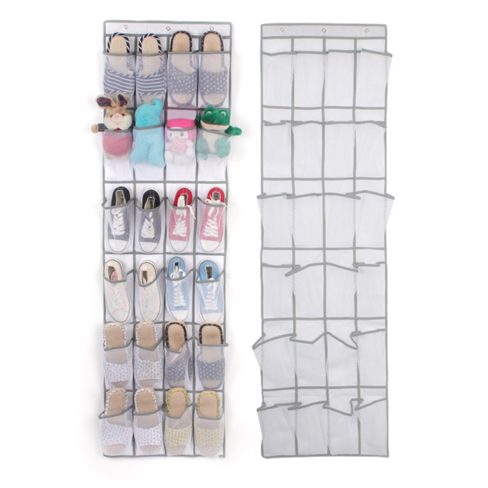 1.6m 24 Pockets Large Mesh Hanging Storage Bag Behind Doors Shoes Rack Storage Household Accessories