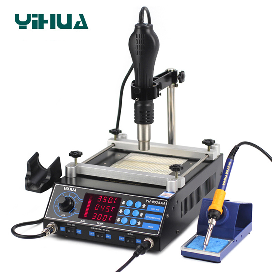 YIHUA 853AAA 3 Functions in 1 Bga Rework Station 650W SMD Hot Air Gun 60W Soldering