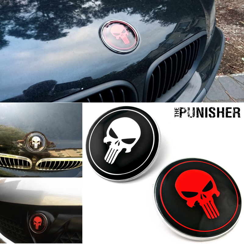 Image 1 - Punisher Skull Car Hood Emblem Badge Ornament for bmw 82mm X6 M3 Sedan E39 E46 E36 E90 Replace OEM 51148132375-in Emblems from Automobiles & Motorcycles