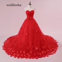 Weilinsha Candy Color Colorful Wedding Dresses Charming Ball Gown Tulle Strapless Romantic Court Train Pleats Vestido