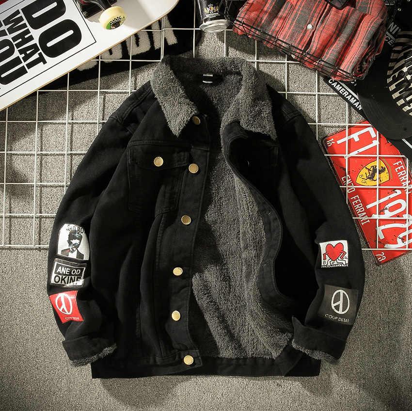 HCXY 2019, мужские зимние теплые джинсовые куртки, пальто, мужское плотное пальто, Мужская джинсовая куртка, теплая верхняя одежда с бархатным воротником, плюс размер, 4 5XL