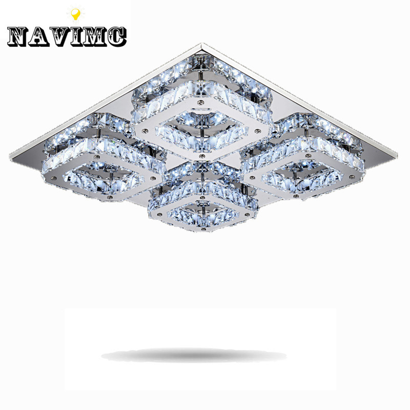 Square LED Crystal Light Ceiling Lighting Fixture Surface Mounted Crystal LED Lamp for Hallway Aisle Corridor Fast Shipping modern led crystal ceiling light surface mounted style ceiling lamp lighting fixture for aisle entrance corridor living room
