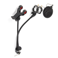 New Microphone Holder Stand Stable Clip Bracket Wind Screen Pop Filter Swivel Mic Mount Phone Holder
