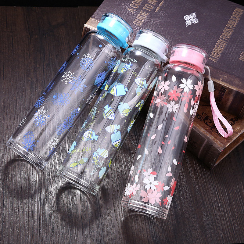 Outdoor sports portable water bottle teacup creative crystal glass sling office