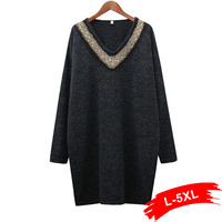Autumn Plus Size Sequins Beading Loose Long Knitted Sweater 4Xl 5Xl Sexy V-Neck Knitting Pullovers Sweater Jumpers