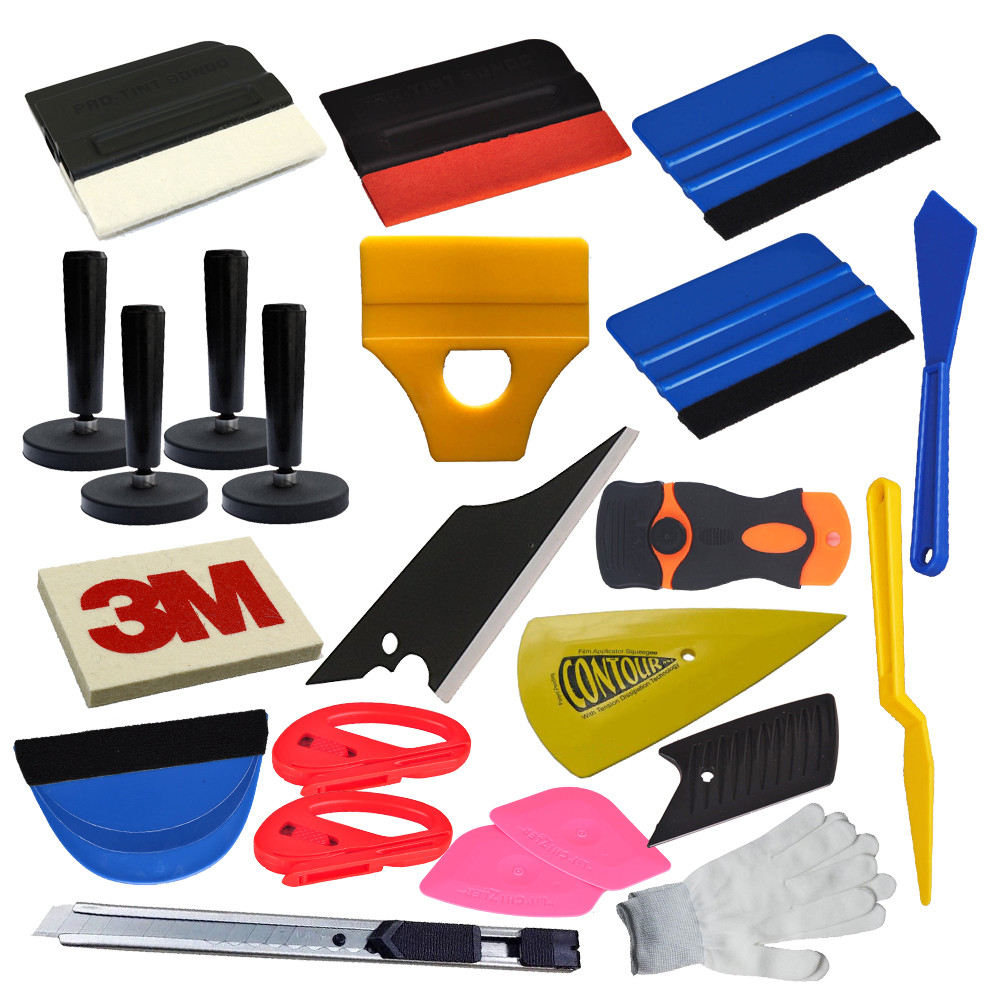 Car Wrap Vinyl Squeegee Tool Bag Razor Wrapping Gloves 4 Magnets Pouch Combo Set