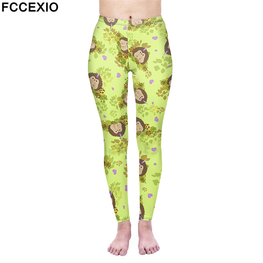 716339f4fecc4 FCCEXIO New Fashion Female Workout Pants High Waist Fitness Leggings  Hedgehog 3D Print Leggins Women Leggings Slim Trousers | Athletic Store