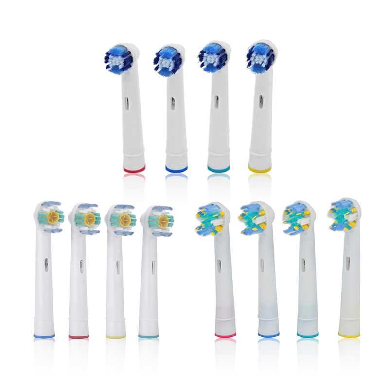 4pcs Replacement Toothbrush Heads for Oral Hygiene B Cross Floss Action Precision Soft Bristle Electric Tooth Brushes Heads