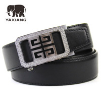 YAXIANG Famous Brand Belt Men Top Quality Genuine Luxury Leather Belts For Men Strap Male