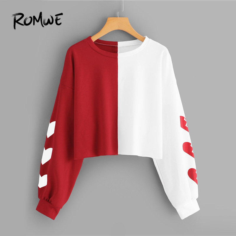 romwe heart print sleeve colorblock crop sweatshirt women