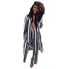 Black White Vertical Striped 2 Piece Set Rompers Double Slit Full Sleeve Long Coat And Wide Leg Pant Jumpsuit Women Plus Size