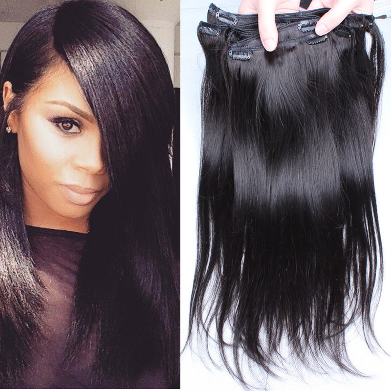 Clip in human hair extensions 6a brazilian virgin hair straight clip in human hair extensions 6a brazilian virgin hair straight 7pcs120g nature black clip in hair 100 virgin human hair weave on aliexpress alibaba pmusecretfo Image collections