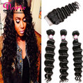 Malaysian Curly Hair With Closure 3 Bundles With Lace Closure HJ Weave Beauty Natural Loose Curly Wave with closure 3 bundles