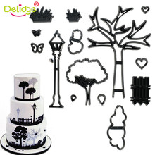 Delidge 14Pcs Park Plastic Cookie Cutter Plant Tree Grass Stamp Street Lamp Cut Heart Fondant Cake Decorating Bakery Mold