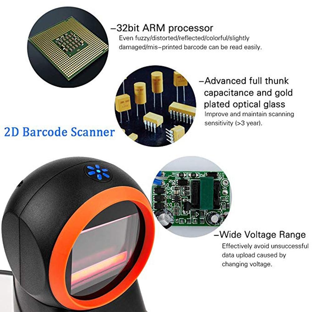 ISSYZONEPOS 1D 2D Desktop Hands-Free USB Barcode Scanner Mobile Payment Computer Screen Omnidirectional Reader Scan Data Matrix parts