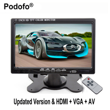 "Podofo 7"" TFT LCD Color Car Monitor 2 Video Input PC Audio Video Display VGA HDMI AV Input Security Monitor Screen Car-styling"