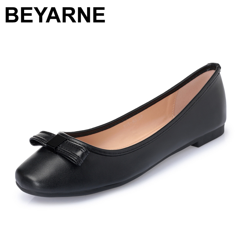 BEYARNE Brand womens shoes woman flats Spring/Autumn Basic PU Slip-On Pointed Toe Solid Butterfly-knot Leisure beyarne spring summer women moccasins slip on women flats vintage shoes large size womens shoes flat pointed toe ladies shoes