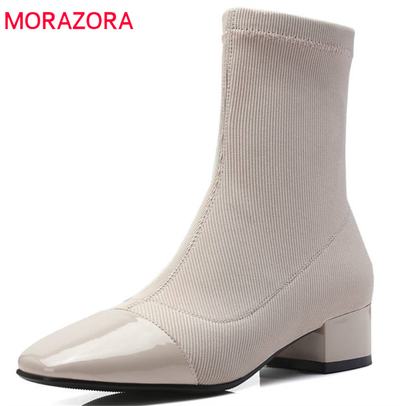MORAZORA 2018 new ankle boots women genuine leather slip on Stretch socks boots square toe high heels autumn winter shoes woman morazora 2018 new fashion shoes woman suede leather ankle boots pointed toe autumn winter slip on party high heels boots women
