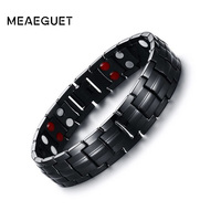 Meaeguet Magnetic Health Power Bracelet Black Men S Titanium Bracelets Sports Jewelry 22cm