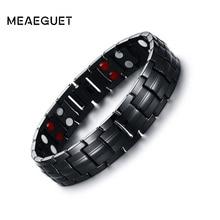 Meaeguet 15 мм магнит здоровья Мощность браслет для мужские черные отрицательных ионов дальнего инфракрасного Титан магнитотерапия Браслеты ювелирные изделия