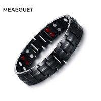 Meaeguet Magnetic Health Power Bracelet Black Men S Titanium Bracelets Sports Jewelry 22cm