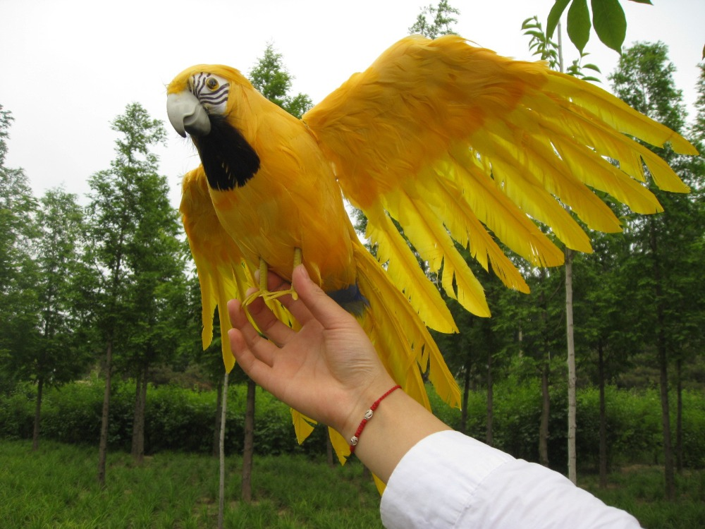 big simulation yellow parrot model polyethylene&furs big wings parrot toy gift 60x45cm new simulation flying parrot toy polyethylene