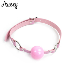 AUEXY Silicone Ball Mouth Gag Oral Fixation PU Leather Band Bondage  Restraints Sex Toys for Couples