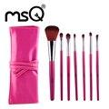 Msq marca profesional 7 unids pinceles de maquillaje pelo sintético suave con estuche de cuero pu para la belleza de la moda al por mayor