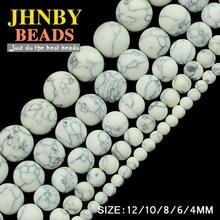 JHNBY-Bola redonda de piedra sintética de calaita blanca, cuentas sueltas de 4/6/8/10/12MM para fabricación de joyas, pulsera DIY
