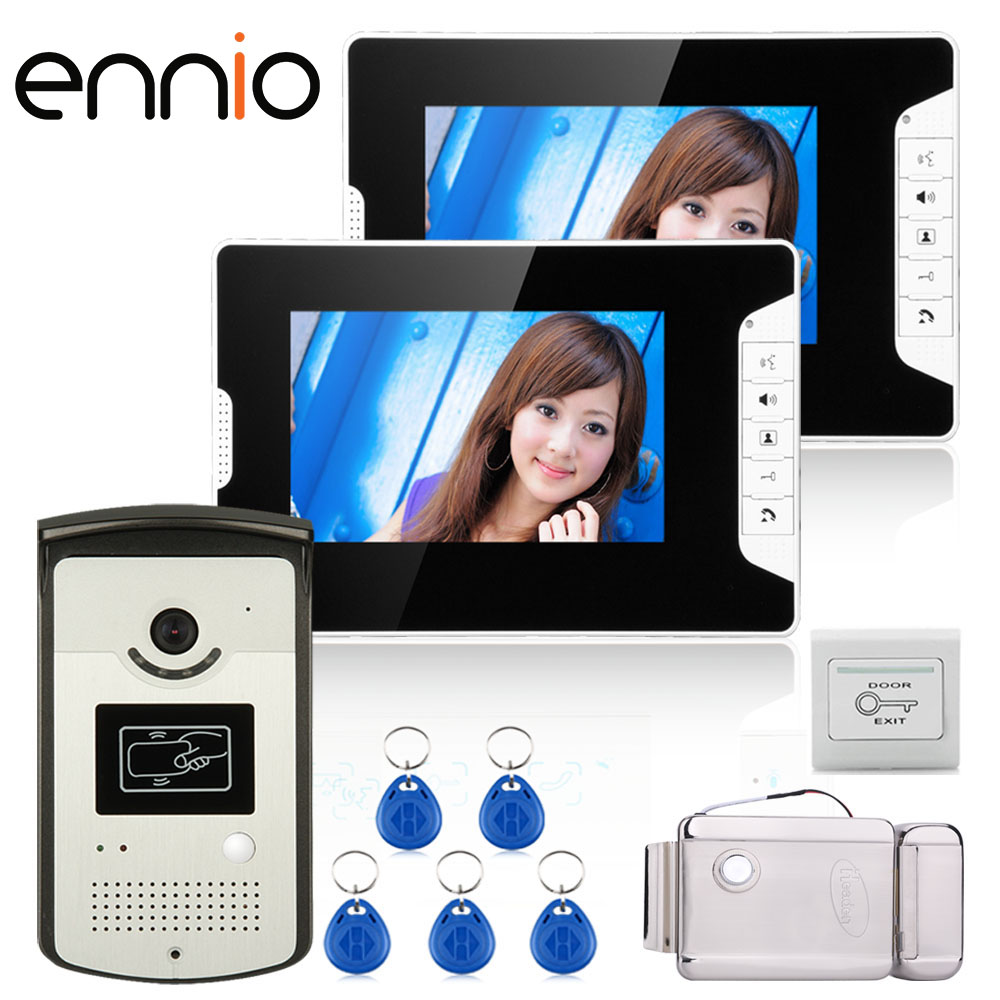 ENNIO SY813MEIDDNO12 7 Color Video Door Phone Intercom 2 Monitor 1 RFID HD Doorbell Camera + Electronic Door Lock