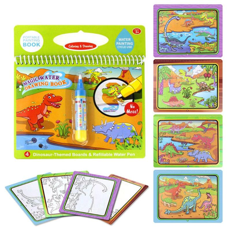 2019 Latest Design Cartoon Coloring Magic Water Drawing Book+1 Pen Reusable Painting Book Kids Recognize Learning Doodle Writescratch Painting Driving A Roaring Trade