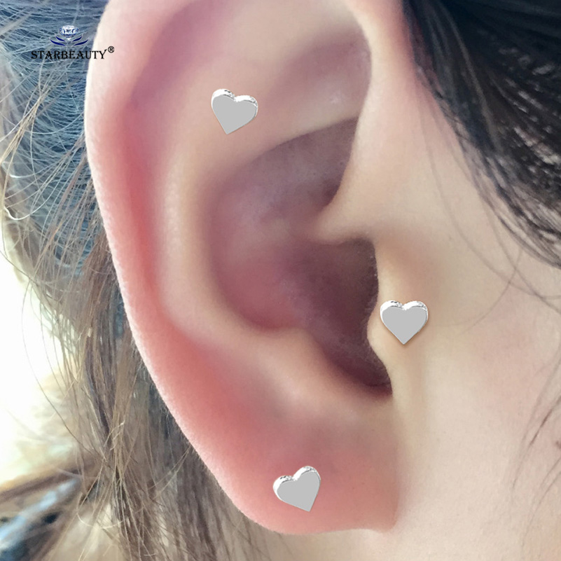 2 Pcs Lot Lovely Heart Stud Earrings Tragus Piercing Orelha Cartilagem Rose Gold Color Body Helix Ear Jewelry In From