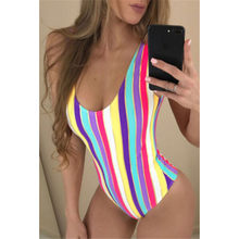 One Piece Swimsuit 2017 Musim Panas Berenang Pakai Rainbow Beach Wear Perban Monokini Swimsuit Sexy Swimwear Wanita Bodysuit Baju renang(China)