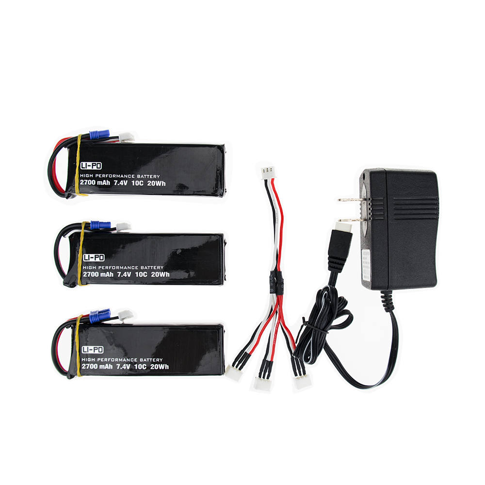 ФОТО H501S 7.4V 2700mah lipo battery 10C 3pcs and charger US plug set for Hubsan H501C rc Quadcopter Airplane drone Parts