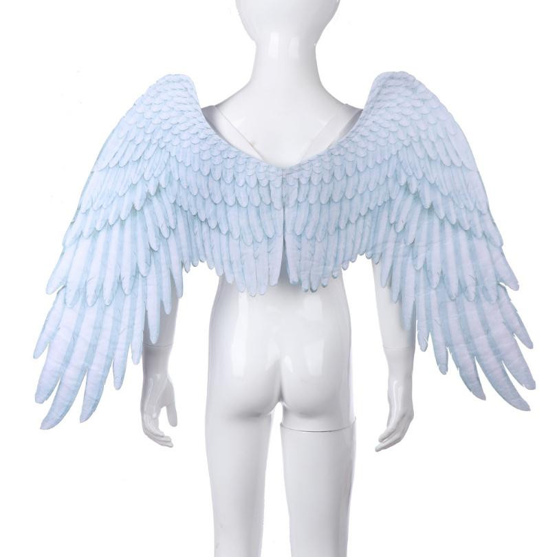 Hot sale Mardi Gras Halloween Christmas Party Boy Girl Children Anime Black White Angel Wing Cosplay Props Collapsible for Kids