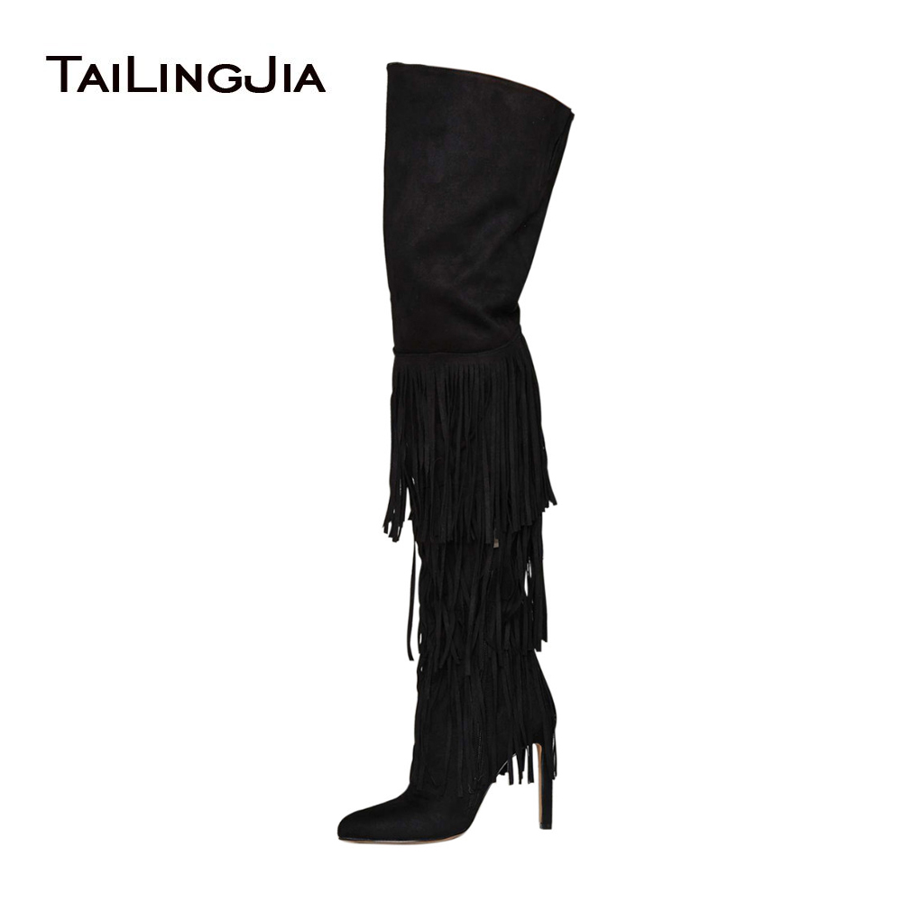 Women Extremely High Heel Black Faux Suede Tassel Over The Knee High Boots Ladies Pointed Toe Thigh High Boots Sexy Winter Shoes women over the knee boots black velvet long boots ladies high heel boots sexy winter shoes chunky heel thigh high boots
