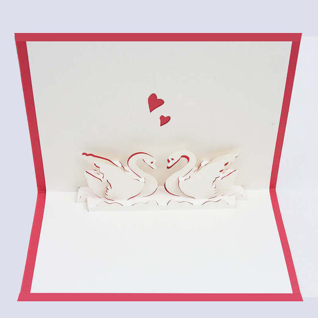 Doreenbeads 3d Card A Pair Of Swan Design Pop Up Valentine S Day