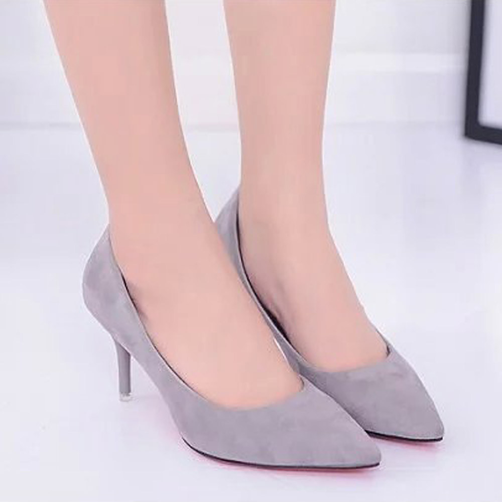 Women Nude Shallow Mouth Fashion Elegant Ladies Office Work High Heels Shoes ...