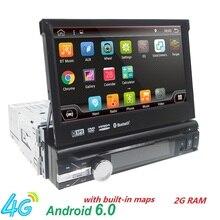 Universal 1 din reproductor de DVD Del Coche del Androide 6.0 Quad Core GPS Wifi BT Radio BT 2 GB RAM 32 GB SD 16 GB ROM 4G SIM LTE Red SWC RDS CD