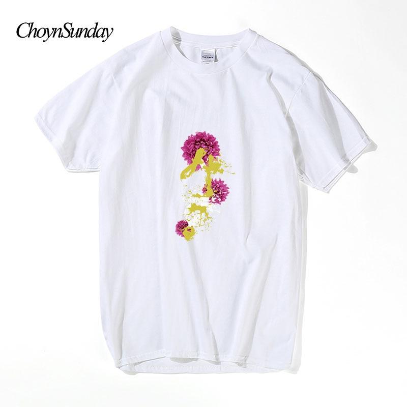 2018 ChoynSunday marca hombre estampado de flores negro blanco - Ropa de hombre