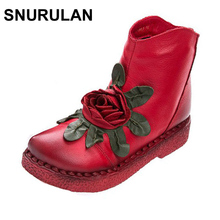 SNURULAN women genuine leather winter warm handmade low heel vintage flower shoes short boots female motorcycle botas