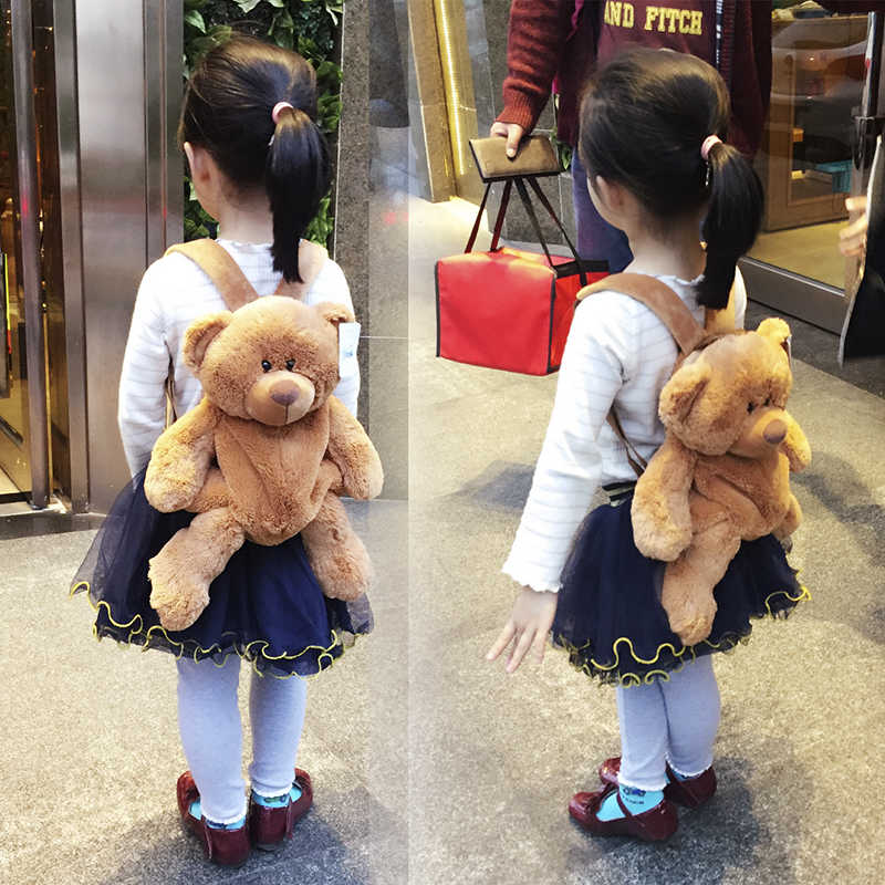 Candice guo! cute plush toy lovely cartoon brown bear backpack bag schoolbag girls boys kindergarten birthday Christmas gift 1pc