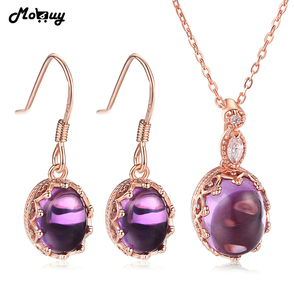 MoBuy Amethyst Oval Natural Gemstone 4pcs Jewelry Sets 100% 925 Sterling Silver Fine Jewelry For Women Anniversary V031ENMoBuy Amethyst Oval Natural Gemstone 4pcs Jewelry Sets 100% 925 Sterling Silver Fine Jewelry For Women Anniversary V031EN