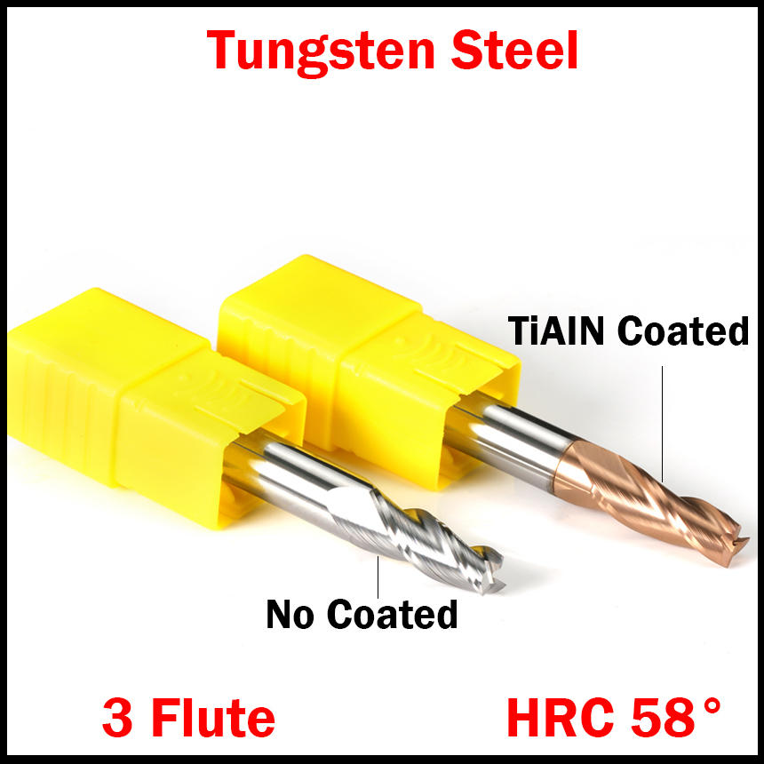 8mm OD 10 Degree 3 Flute Tungsten Carbide TiAIN Coated HRC58 CNC Taper Chamfer End Mill Router Bit Milling Cutter